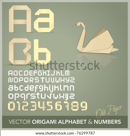 Origami alphabet letters and numbers  with origami object Old paper