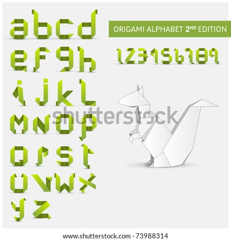 Origami alphabet letters and numbers with origami object Second version