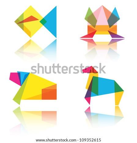 Origami animal vector illustration.