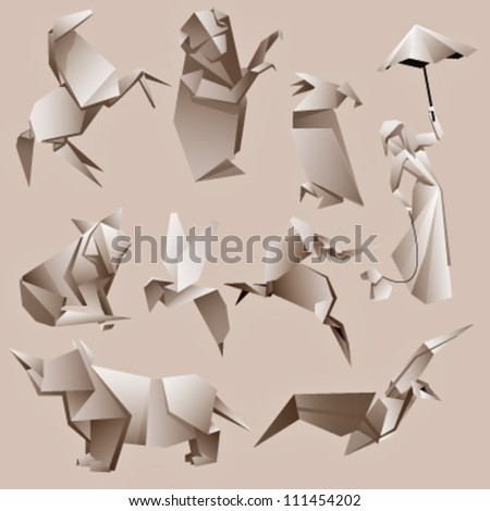origami animals and woman background. vector design