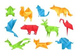 Origami animals different paper toys set frog, bird, camel, bear, cat, deer, fox, dragon, elephant, dinosaur, flamingo, wolf cartoon geometric game toys japanese paper origami wildlife symbol vector