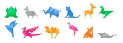Origami animals different paper toys set frog, bird, camel, mouse, cat, deer, fox, dragon, elephant, dinosaur, flamingo, wolf cartoon geometric game toys japanese paper origami wildlife symbol vector