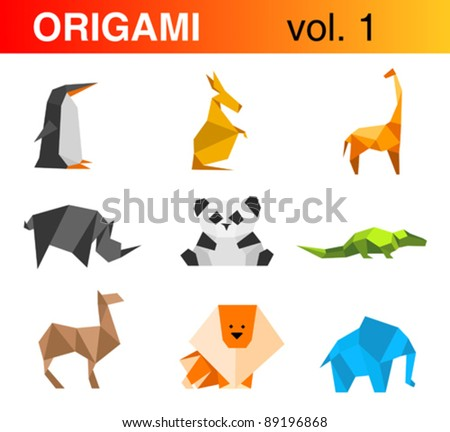 Origami animals logo template set 1: penguin, kangaroo, giraffe, rhinoceros, panda, crocodile, camel, lion, elephant