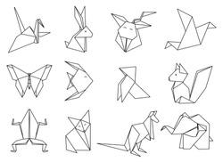 Origami Animals set. Geometric polygon cartoons. Coloring book.