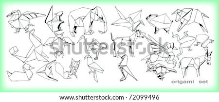 origami animals set  vector