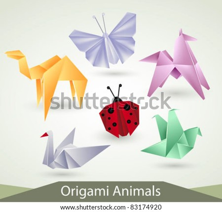 origami animals vector
