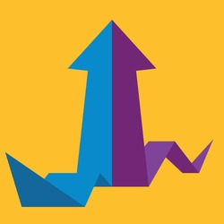 origami arrow formed by two merging blue and purple lines on yellow background. Partnership, merger, alliance and integration concept. Flat design. Vector illustration, no transparency, no gradients