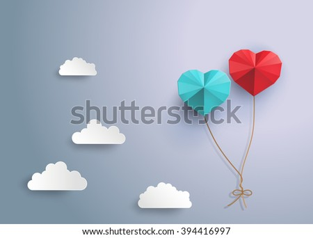 origami  balloon in in the