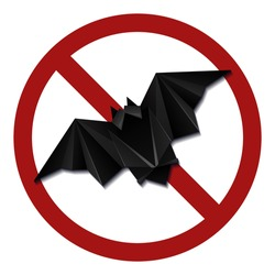 Origami bat in a red prohibition sign. Danger of infection. Do not breed bats. Do not feed wild beast. Origami wild animal in forbidden sign.