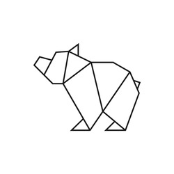 Origami bear. Geometric line shape for art of folded paper. Logo template. Vector illustration.