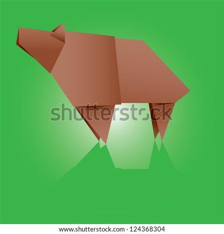 Origami bear vector illustration