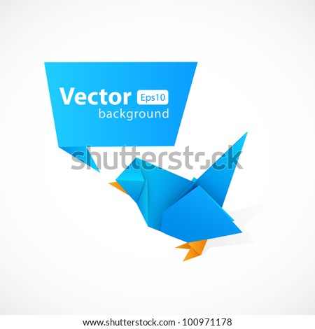 Origami bird and abstract origami speech bubble