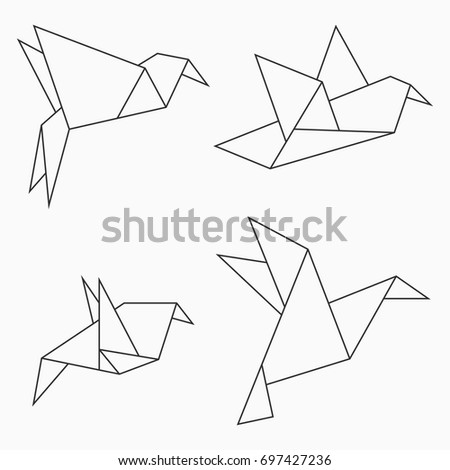 origami bird collection set of