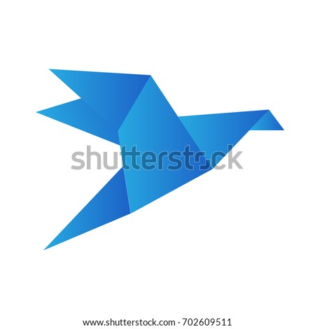 origami bird crane isolated on