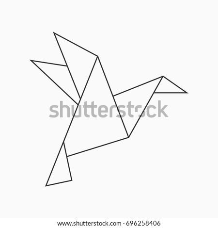 Origami bird. Geometric line shape for art of folded paper. Vector illustration.