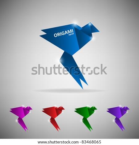 Origami bird (humming-bird) - stock vector