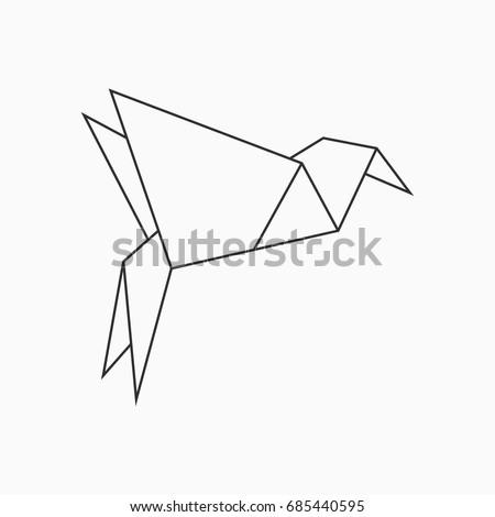 origami bird line geometric