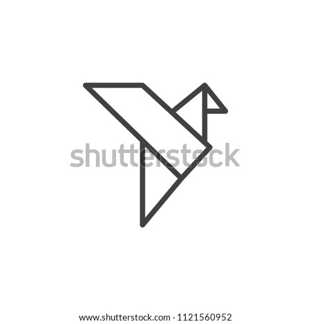 Origami bird outline icon. linear style sign for mobile concept and web design. Bird paper simple line vector icon. Symbol, logo illustration. Pixel perfect vector graphics