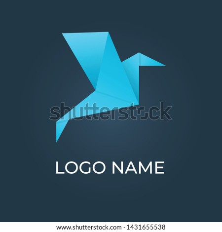 origami bird paper logo isolated