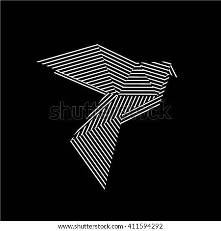 Origami Bird Vector illustration on black background/ Origami Pigeon Vector illustration on black background