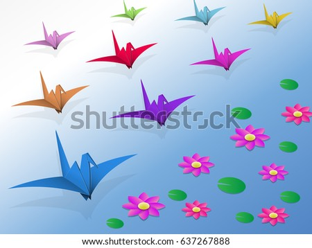 origami birds flying over the