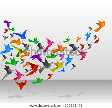 Origami Birds Flying Upwards vector illustration