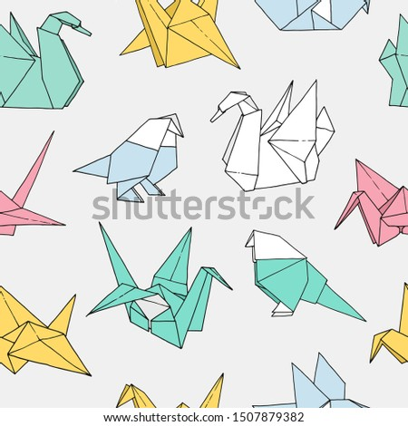 origami birds shapes vector