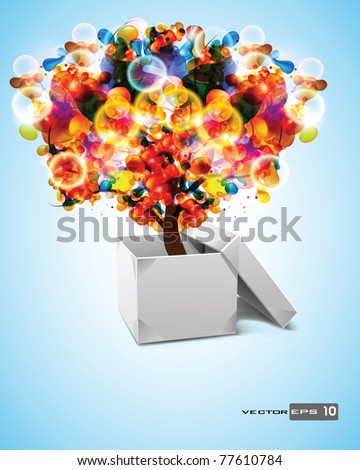 Origami Box with Abstract Tree. EPS 10 Vector.