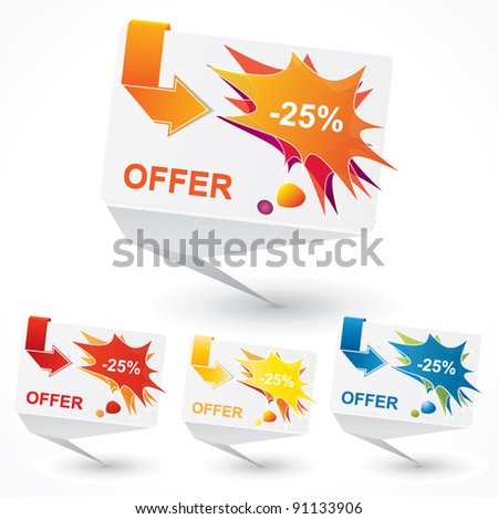 Origami bubble style vector price tag set with catchy design