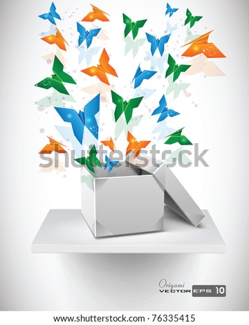 Origami Butterflies with Origami Box on Shelf. EPS 10 Vector Background.