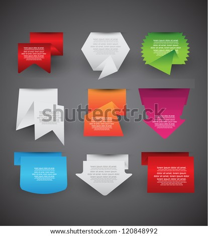 origami collection of paper banners label,sticker badges and tags