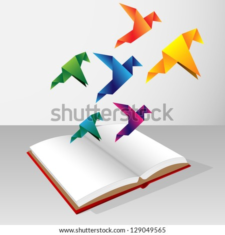 origami coming out of book