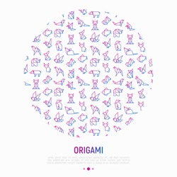 Origami concept in circle with thin line icons: penguin, camel, fox, bear, sparrow, fish, mouse, bird, elephant, kangaroo, hare, seal. Modern vector illustration for workshop with place for text.
