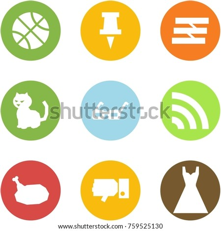 Origami corner style icon set - basketball, drawing pin, paper tray, cat, glasses, rss, chicken, dislike, dress