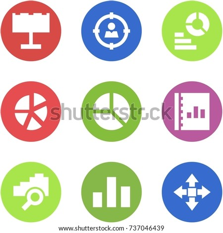 Origami corner style icon set - billboard, target audience, diagram, graph, annual report, cloud search, statistic, disassembly