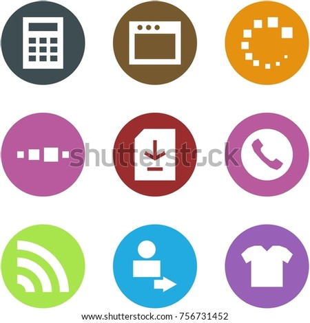Origami corner style icon set - calculator, window, loading, , document download, phone, rss, user login, t shirt