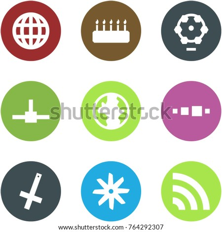 Origami corner style icon set - globe, cake, ferris wheel, connect, earth, loading, inverted crucifix, fan, rss