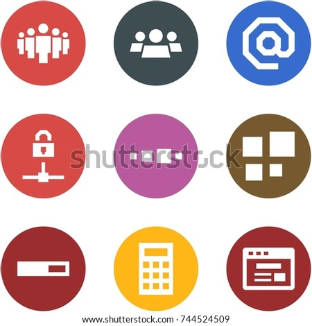 Origami corner style icon set - group, e-mail, locked connect, loading, calculator, internet store