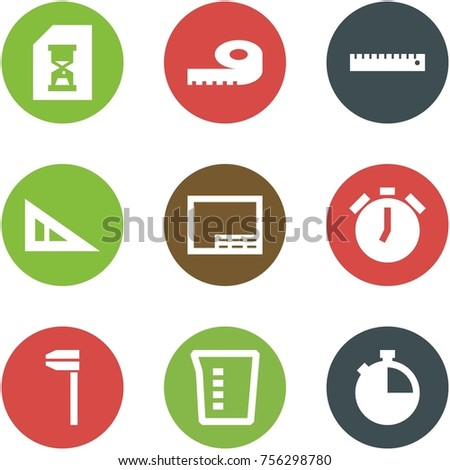 Origami corner style icon set - history, meter, ruler, angle, drawing, alarm clock, caliper, measuring cup, stopwatch