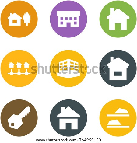 Origami corner style icon set - home and tree, house, , local network, building, , key, , slippers