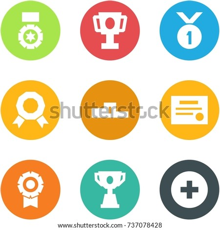 Origami corner style icon set - medal, cup, pedestal, certificate, competition, add