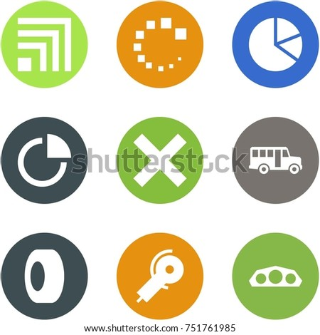 Origami corner style icon set - rss, loading, circle diagram, delete, school bus, tyre, angle grinding machine, dashboard