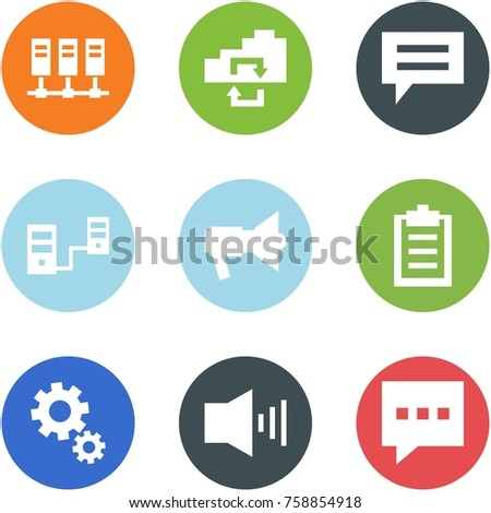 Origami corner style icon set - servers, exchange, chat, connected, loudspeaker, clipboard, gears, alarm, message