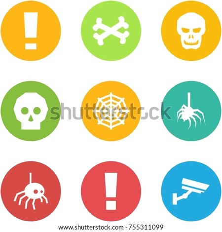 Origami corner style icon set - warning, bones, skull, , web, spider, , information, surveillance