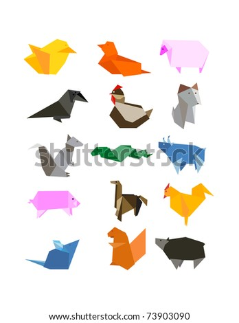 Origami Country Farm Animals Icon Set - stock vector