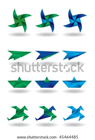 origami design elements - paper windmill, air plane, ship, bird