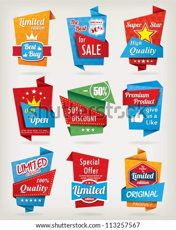 Origami design label set - stock vector