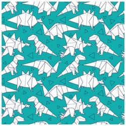 Origami dinosaurs seamless pattern.Fun dinosaurs hand drawing.Paper art vector print.