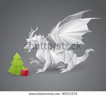 origami dragon and a christmas