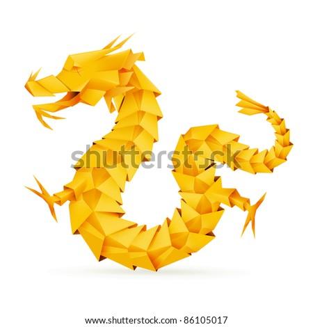origami dragon  orange vector